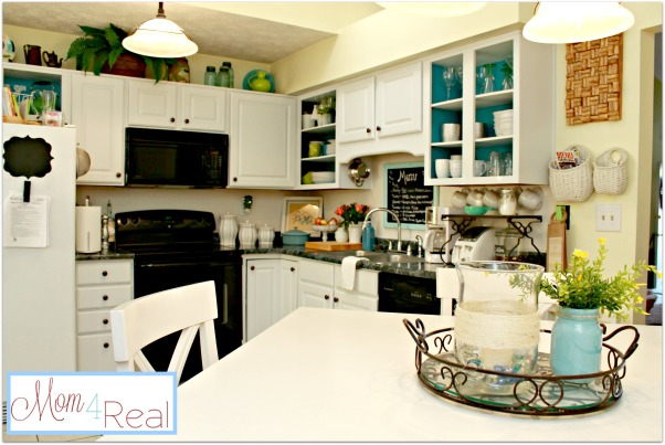 Open Colorful Kitchen Cabinets, Kitchen cabinets with doors removed for open shelving.  Added a splash of aqua and some silver, white, lime green, and turquoise accents along with a chalkboard menu., Kitchen with open cabinets., Kitchens Design