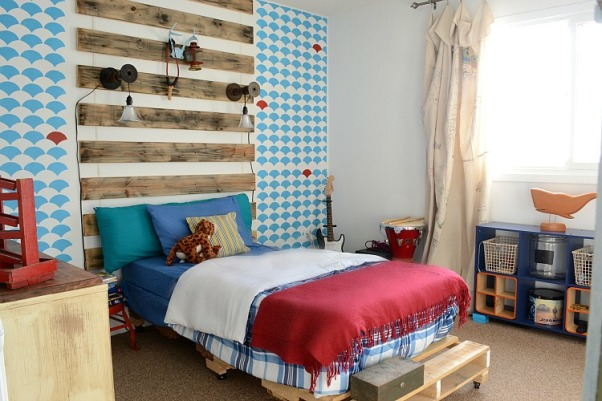 Boy's Rustic/Mod bedroom, This bedroom is a great mix of modern and rustic! Creative and budget friendly elements keep it fun and functional. A focal wall created with paint and leftover wooden slats is fresh and unique!, A bed made from a pallet is what my boy wanted. He wanted a rustic space, I wanted clean and fresh. A compromise was made and the results are great!, Boys' Rooms Design