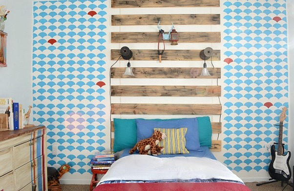 Boy's Rustic/Mod bedroom, This bedroom is a great mix of modern and rustic! Creative and budget friendly elements keep it fun and functional. A focal wall created with paint and leftover wooden slats is fresh and unique!, The focal wall is created from a modern stencill and rustic boards. The boards are reused from the bunk bed that used to be in this space. , Boys' Rooms Design