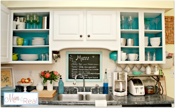 Open Colorful Kitchen Cabinets, Kitchen cabinets with doors removed for open shelving.  Added a splash of aqua and some silver, white, lime green, and turquoise accents along with a chalkboard menu., Open kitchen cabinets with a pop of color on the inside., Kitchens Design