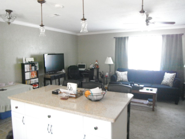 Our short sale Kitchen makeover, Short sale kitchen was short on cabinets,appliances,countertops,you name it!, View into living room, Kitchens Design