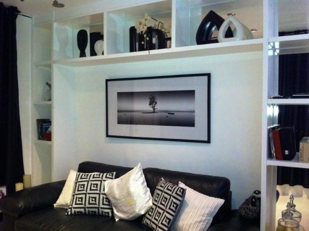 Cozy Living Room, We have a very small living room so I decided to go for a white and black theme with red accents., Other set up of the living room with all black and white furnishing. , Living Rooms Design