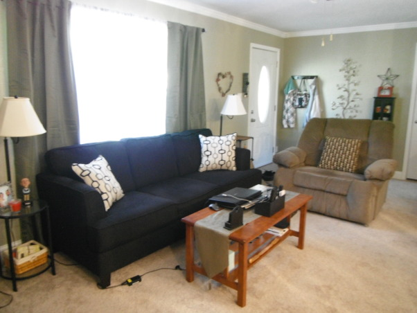 our short sale Living room makeover, we bought a short sale home with nothing in it and redid the entire space. , added crown moulding.. furniture...      , Living Rooms Design