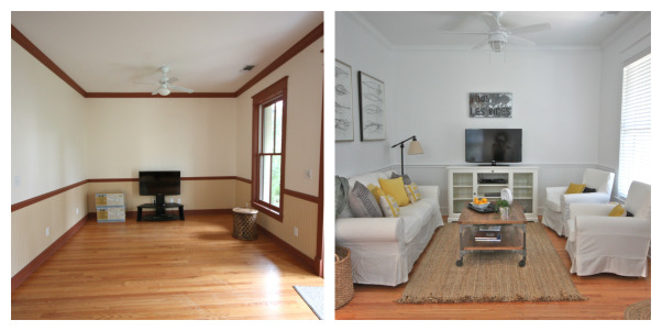 "Living Room Beach Cottage, A beach cottage located in a small costal community. All decor was done on a strict budget. The goal was to keep it simple and clean., Just a small beach cottage. Before & After: Everything is ""off the shelf"" & on a strict budget.   , Living Rooms Design"
