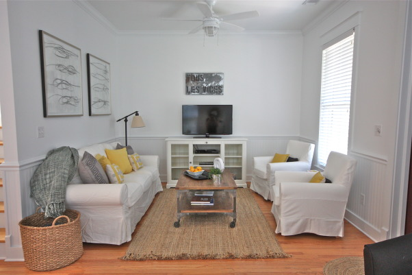 "Living Room Beach Cottage, A beach cottage located in a small costal community. All decor was done on a strict budget. The goal was to keep it simple and clean., Just a small beach cottage. Everything is ""off the shelf"" & on a strict budget.   , Living Rooms Design"