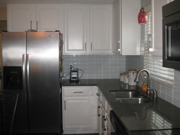 2013 Kitchen Facelift, New quartz countertop, glass subway tile with BM white dove painted cabinets, Ikea Vinna cabinet pull hardware, New quartz countertops, glass subway tile and painted cabinets.  Kitchen facelift on a tight budget!   , Kitchens Design