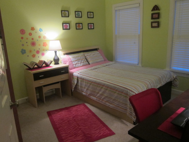 In $350 teen's room make over, after make over   1: wall paint : $30 2: computer desk: $100 3: pink desk chair : $45 4: lamps : $50 5: pink rug : $20 6: bedding : $35 7: table mats and desk bins : $30 8: wall art : $15 9: brown spray paint for furniture : $10 10: zig zag book shelf : 15         , Girls' Rooms Design