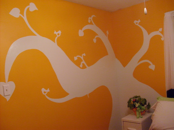 "My orange bedroom, One of three bedrooms but I painted this one orange and have more ""earth"" accents, The back wall I painted a tree design on wall, Bedrooms Design"