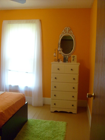 "My orange bedroom, One of three bedrooms but I painted this one orange and have more ""earth"" accents, when you are in the bedroom- I painted the trim white gloss and ripped out carpet and painted the floors with porch paint , Bedrooms Design"