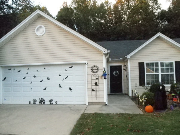 756 Halloween , Decorations, More fun foam silhouettes on the garage door.     , Holidays Design