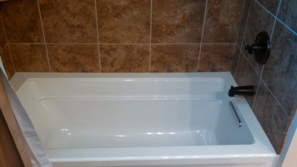 Beautiful Remodeled Bathroom, Small Updated Bathroom, Kohler Tub with 13x13 tile, Bathrooms Design