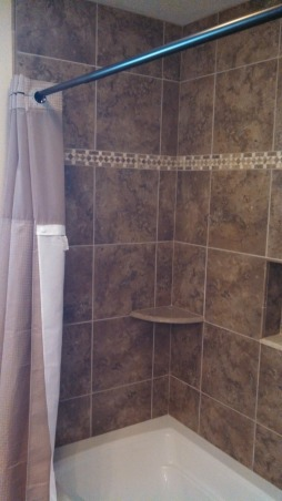 Beautiful Remodeled Bathroom, Small Updated Bathroom, Went with the hookless taupe shower curtain to lighten up the darker tile in the shower..., Bathrooms Design
