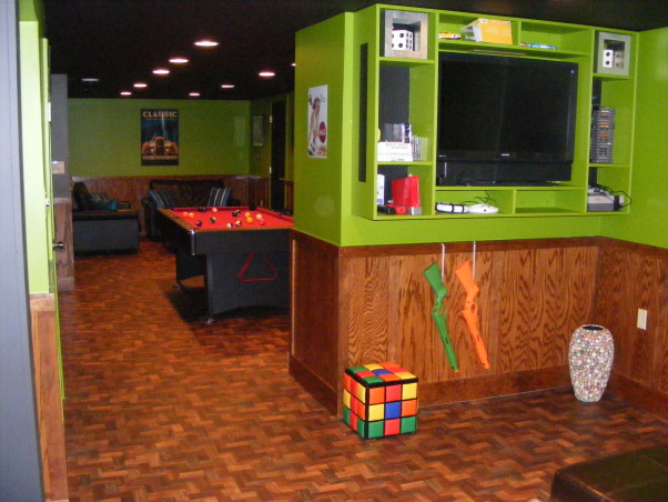 Apple green and an apple martini?, This basement is very cozy and fun and offers a lot.Although not a huge amount of space we utilized it and made it very fun., game area, Basements Design