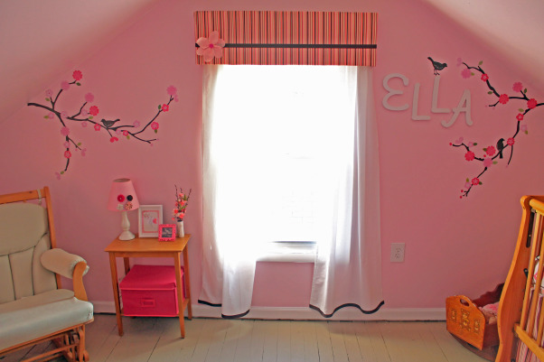 Cherry Blossom Nursery, After 14 years of boy themed rooms, we finally got to complete a pink girl's room! We chose a cherry blossom theme. Most of the room was DIY and inexpensive to finish. More details of the projects and room are at pinnedsisters.com, My favorite part of the room. I love the decals! I made the curtains and cornice board , Nurseries Design