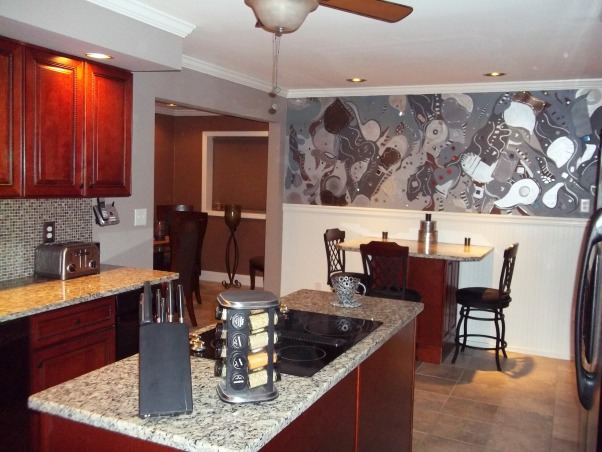 Art Mural on kitchen wall, A fun sleek kitchen with a handpainted piece of wall art, fun artistic kitchen, Kitchens Design