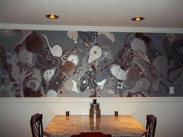 Art Mural on kitchen wall, A fun sleek kitchen with a handpainted piece of wall art, modern wall art, Kitchens Design
