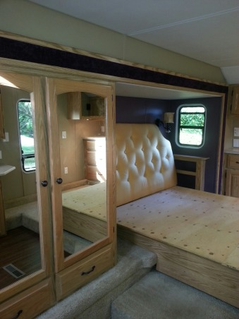 RV Renovation, Completely renovated our 2003 Carriage Carri-lite. Being full timers we wanted the space to feel like our home! So when we got time off and were out of the RV for a little while we spent around 3 months changing everything out!  Some of the photos don't show the completed shades on (I made the Roman Shades myself so they took some time!) We're still planning on changing carpets in main living area and putting in a smaller version (but still bigger than the biggest RV oven) residential gas oven and a tank less water heater!  , Still missing the Roman shade that I made for it, it will have the same design as the other fabric. Obviously lacking our mattress too. Had not moved back in yet when the photo was taken!      , Other Spaces Design