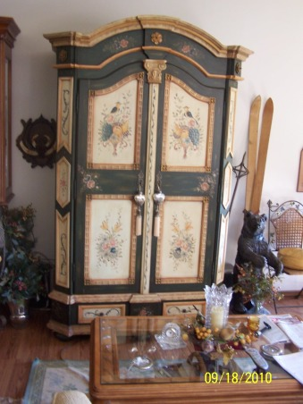 Bavarian Dreams, Always loved the warmth of the mountain homes with a bavarian feel.  Enjoy the beauty of the black forest area. Living in Wisconsin, this type of decor feels warm and welcoming, especially when there is a foot or more of snow outside : ), hand painted armoire, Living Rooms Design