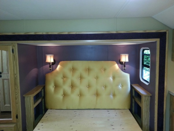 RV Renovation, Completely renovated our 2003 Carriage Carri-lite. Being full timers we wanted the space to feel like our home! So when we got time off and were out of the RV for a little while we spent around 3 months changing everything out!  Some of the photos don't show the completed shades on (I made the Roman Shades myself so they took some time!) We're still planning on changing carpets in main living area and putting in a smaller version (but still bigger than the biggest RV oven) residential gas oven and a tank less water heater!  , we made the tufted the head, added new light sconces, and reupholstered the fabric inlay on the slide out.       , Other Spaces Design