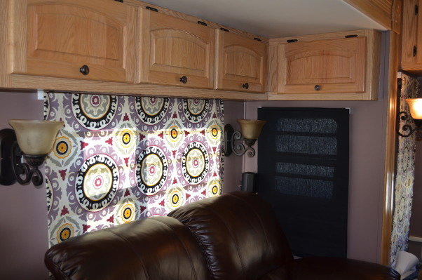 RV Renovation, Completely renovated our 2003 Carriage Carri-lite. Being full timers we wanted the space to feel like our home! So when we got time off and were out of the RV for a little while we spent around 3 months changing everything out!  Some of the photos don't show the completed shades on (I made the Roman Shades myself so they took some time!) We're still planning on changing carpets in main living area and putting in a smaller version (but still bigger than the biggest RV oven) residential gas oven and a tank less water heater!  , Our old sofa had a pull out bed and it was VERY uncomfortable. It of course matched all the old decor and ugly box valances and lambrequins. We bought a normal leather power reclining love seat that was the same dimensions as the old sofa and MUCH more comfortable. We also bought an air mattress to use if we have guests!     , Other Spaces Design