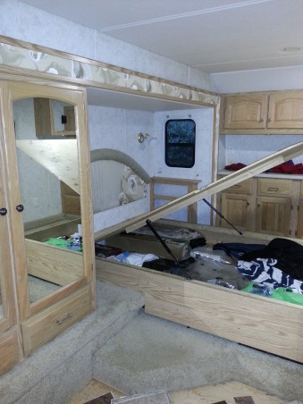 RV Renovation, Completely renovated our 2003 Carriage Carri-lite. Being full timers we wanted the space to feel like our home! So when we got time off and were out of the RV for a little while we spent around 3 months changing everything out!  Some of the photos don't show the completed shades on (I made the Roman Shades myself so they took some time!) We're still planning on changing carpets in main living area and putting in a smaller version (but still bigger than the biggest RV oven) residential gas oven and a tank less water heater!  , before of the bedroom area, except we'd already taken down the box valence from the window.        , Other Spaces Design