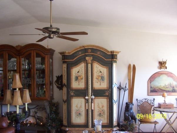 Bavarian Dreams, Always loved the warmth of the mountain homes with a bavarian feel.  Enjoy the beauty of the black forest area. Living in Wisconsin, this type of decor feels warm and welcoming, especially when there is a foot or more of snow outside : ), Features my first , but not last, pair of skiis : ), Living Rooms Design