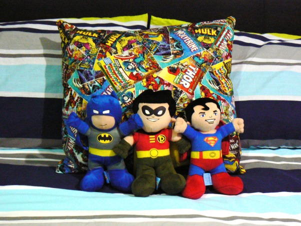 Kadens room has been 'superheroed', Our 5 year old boys 'superhero' bedroom, with lots of superhero things., Love these DC soft toys I found (from Australia) and made the cushion with fabric ordered off ebay , Boys' Rooms Design