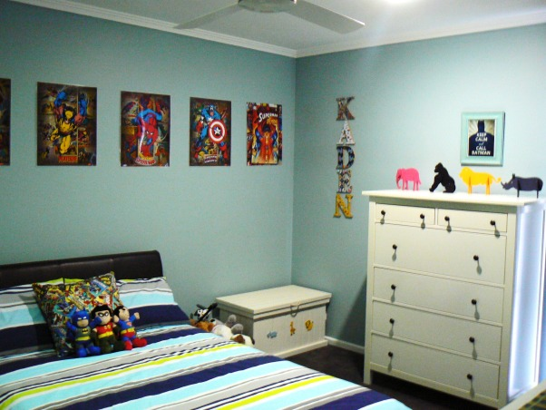 Kadens room has been 'superheroed', Our 5 year old boys 'superhero' bedroom, with lots of superhero things., The posters were ordered online and I got them laminated, the glossy finish makes it look like he has comic covers on the wall , Boys' Rooms Design