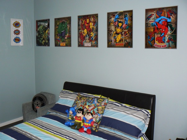 Kadens room has been 'superheroed', Our 5 year old boys 'superhero' bedroom, with lots of superhero things., The doona cover is from Target , Boys' Rooms Design