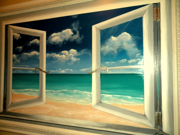 My Painting  of the Cayman Island in laundry room, This is the first painting I have done in 20 years. I did not know where  to hang it so it ended up in my laundry room. Also painting I did in 1987. , Other Spaces Design