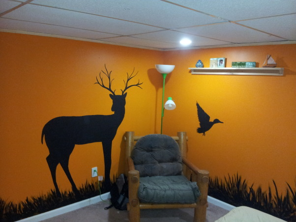 Son's Hunting Theme bedroom, Basement bedroom for a 15 year old boy.  Had a moisture issue, so after ripping out the walls to the bare block, I added a walk-in closet, tile landing (not finished yet) pine siding, and my wife put her artistic talents to work., log chair decor   , Bedrooms Design