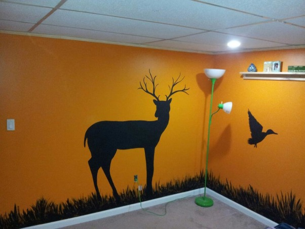 Son's Hunting Theme bedroom, Basement bedroom for a 15 year old boy.  Had a moisture issue, so after ripping out the walls to the bare block, I added a walk-in closet, tile landing (not finished yet) pine siding, and my wife put her artistic talents to work., A buck you will only see in your dreams!  , Bedrooms Design