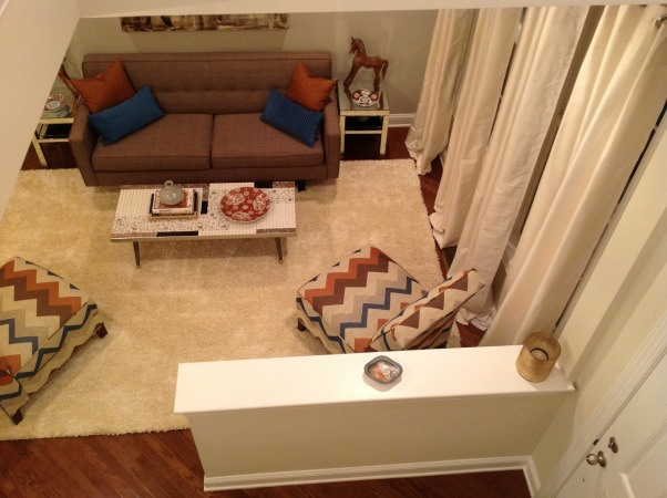 Living Room - Almost Finished, Here is an update of the living room with the new shag rug.  The coffee table is a placeholder while we search for the perfect round piece.  Other than that we need an overhead fixture and some wall mount sconces above the end tables and I believe we will be finished (and broke)., From the foyer balcony  , Living Rooms Design