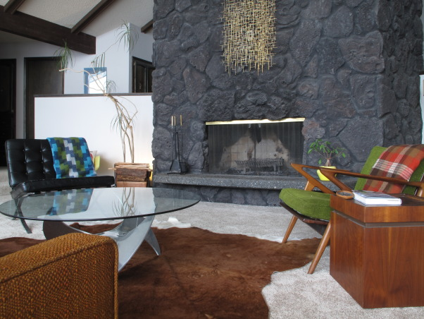 Mid century danish modern living room, We have only been moved in a month at this point so, what do you think?, Sculpture, by Me.  Propeller coffee table, danish lounge chair. If you don't like lava rock this room is not for you. , Living Rooms Design