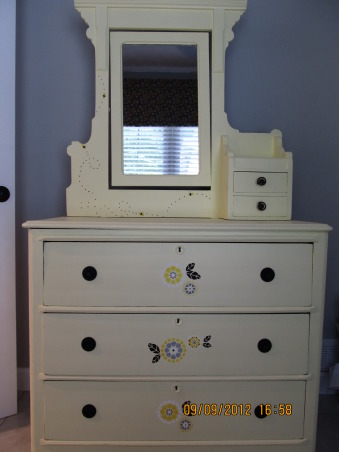 Bumblebee Mudroom, When we bought our house, it was a aqua nightmare, complete with scary clowns!!  We turned it into a black, yellow, gray and white bumblebee mudroom, that was cozy, had more lots storage, and whimsical!! , Antique dresser that I stripped, sanded, painted and stenciled for the room, to store my craft stuff. , Other Spaces Design
