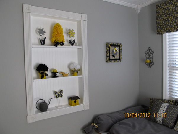 Bumblebee Mudroom, When we bought our house, it was a aqua nightmare, complete with scary clowns!!  We turned it into a black, yellow, gray and white bumblebee mudroom, that was cozy, had more lots storage, and whimsical!! , Built in shelves above daybed, I made most of the nicknacs myself with wood, paint, and silk flowers. , Other Spaces Design