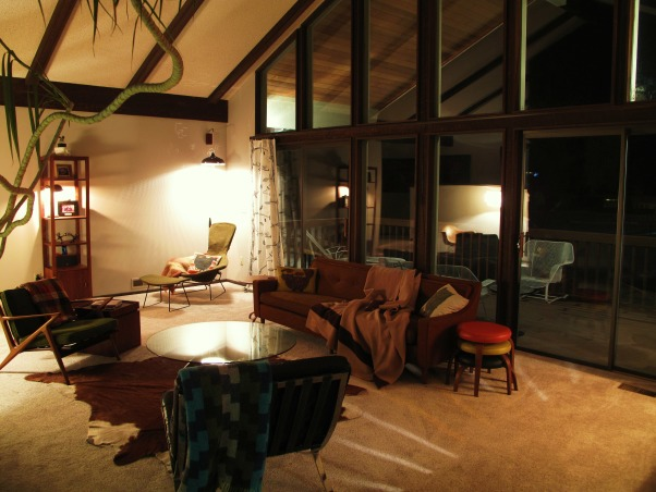 Mid century danish modern living room, We have only been moved in a month at this point so, what do you think?, Our Vintage mid century modern living room at night, with a touch of danish modern.  What do you think?, Living Rooms Design