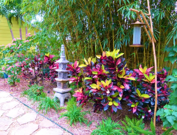 Private Paradise: Color all year long!, We've worked on our garden for the past 12 years. It includes many tropical and flowering plants, trees and fun decor., The bamboo offers nice shelter for the birds that love our homemade bamboo bird feeder., Gardens Design