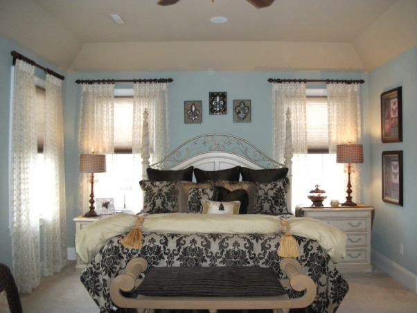 Traditionally Elegant Master Bedroom, This is our Master Bedroom.  , The color on the walls is a departure from what I would normally go with.  It is a blue/green color not my usual beige/gold/caramel color.  , Bedrooms Design