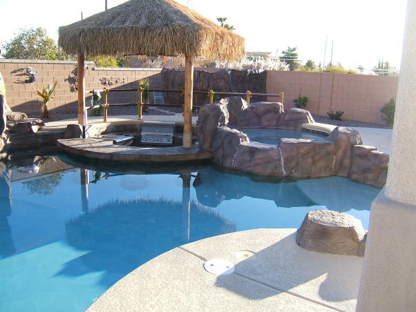 Paradise in the Desert, Something to remind us of our time in Hawaii, Bar-b-q w/swim up bar, Pools Design