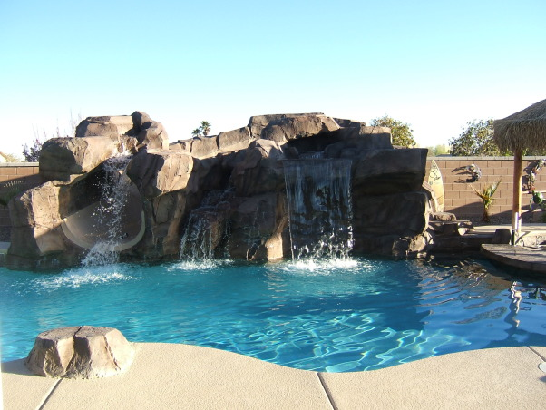 Paradise in the Desert, Something to remind us of our time in Hawaii, Waterfall w/slide to the left, Pools Design