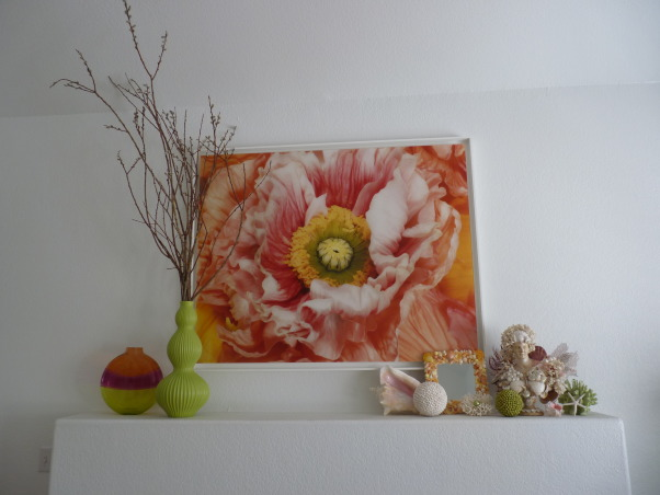 Las Vegas Sunshine, This is my colorful, light-filled living space.  I see that my dog knocked over a couple of the sofa cushions!, This is my living room mantel, with sea shells and ***** willow. , Living Rooms   Design