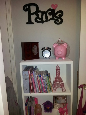 Birthday Surprise, For our daughter's 7th birthday we gave her a surprise room makeover.  I had a tight budget.  She has a small room so the loft bed was a must to give her extra space underneath.  , Her bookcase, it was brown I painted it white.  The Eiffel Tower was mine when that I when I went through a Paris stage. It was black  I painted it pink makes a great book end. Paris sign was purchased at Hobby Lobby., Girls' Rooms Design