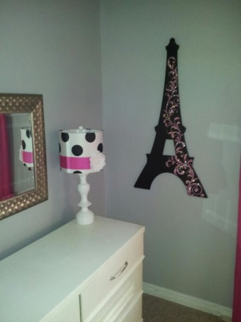 Birthday Surprise, For our daughter's 7th birthday we gave her a surprise room makeover.  I had a tight budget.  She has a small room so the loft bed was a must to give her extra space underneath.  , Eiffel Tower and lamp were purchased at Hobby Lobby, Girls' Rooms Design