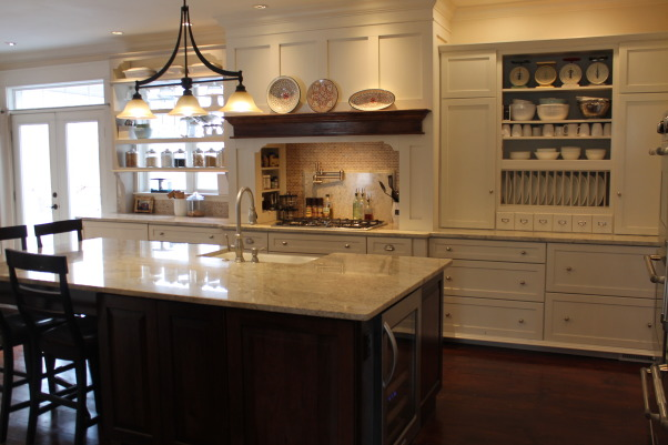 The look for a lot less-before & after, transitional kitchen style.  i spent a lot of time pricing and revising plan to achieve a custom kitchen look without the price tag.  because i love to cook but hate to clean, function was just as important as aesthetics.  behind pocket door (left of ovens) is my pantry with custom looking cabinets and wood countertops (home depot unfinished cabinets w/ trim molding added and salvaged wood countertops) w/ built-in microwave and prep sink. (photos to come- need to paint cabs), Kitchen, Kitchens Design