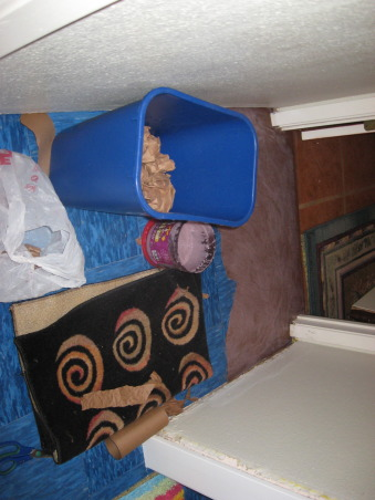 Brown Bag Floor in Hallway, Decided to brown bag over blue vinyl tile in hallway to match dining and living room., Starting to lay brown bag floor over vinyl tiles, Other Spaces Design