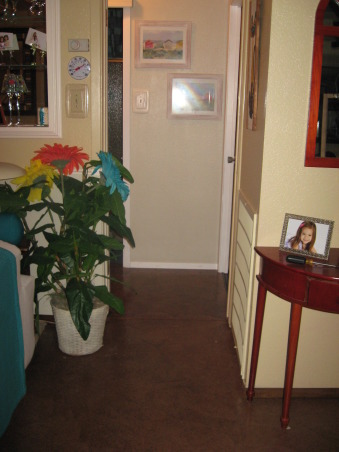 Brown Bag Floor in Hallway, Decided to brown bag over blue vinyl tile in hallway to match dining and living room., Floor is uniform from dining and living room through hallway!, Other Spaces Design