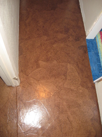 Brown Bag Floor in Hallway, Decided to brown bag over blue vinyl tile in hallway to match dining and living room., After 6 coats of water based poly for floors, Other Spaces Design