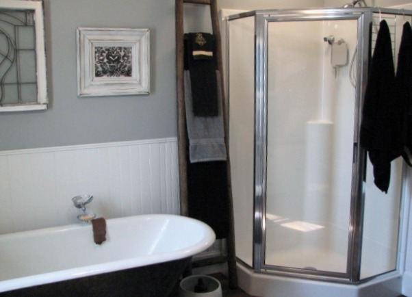 "Bathroom update 100 year old house Clawfoot tub & shower, Took out a 24"" X 6' Closet and added a corner shower., Added corner shower after knocking out closet., Bathrooms Design"