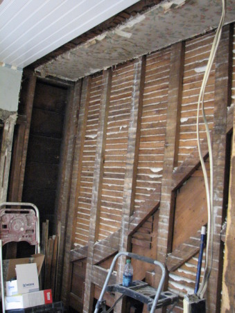 "Bathroom update 100 year old house Clawfoot tub & shower, Took out a 24"" X 6' Closet and added a corner shower., Closet that we knocked out., Bathrooms Design"